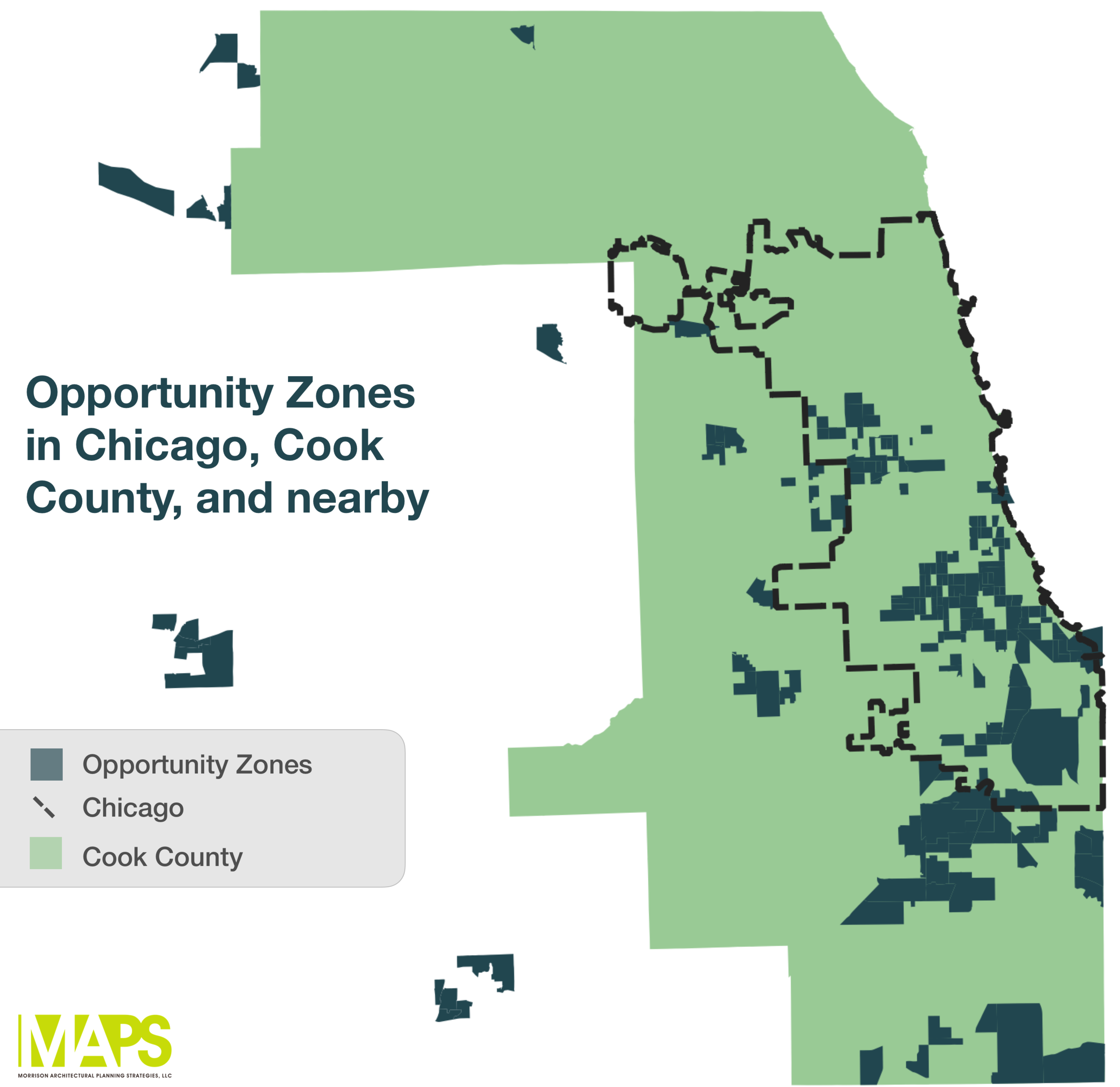 The map shows an overview of where Opportunity Zones are in Chicago, Cook County, and in adjacent Illinois counties.