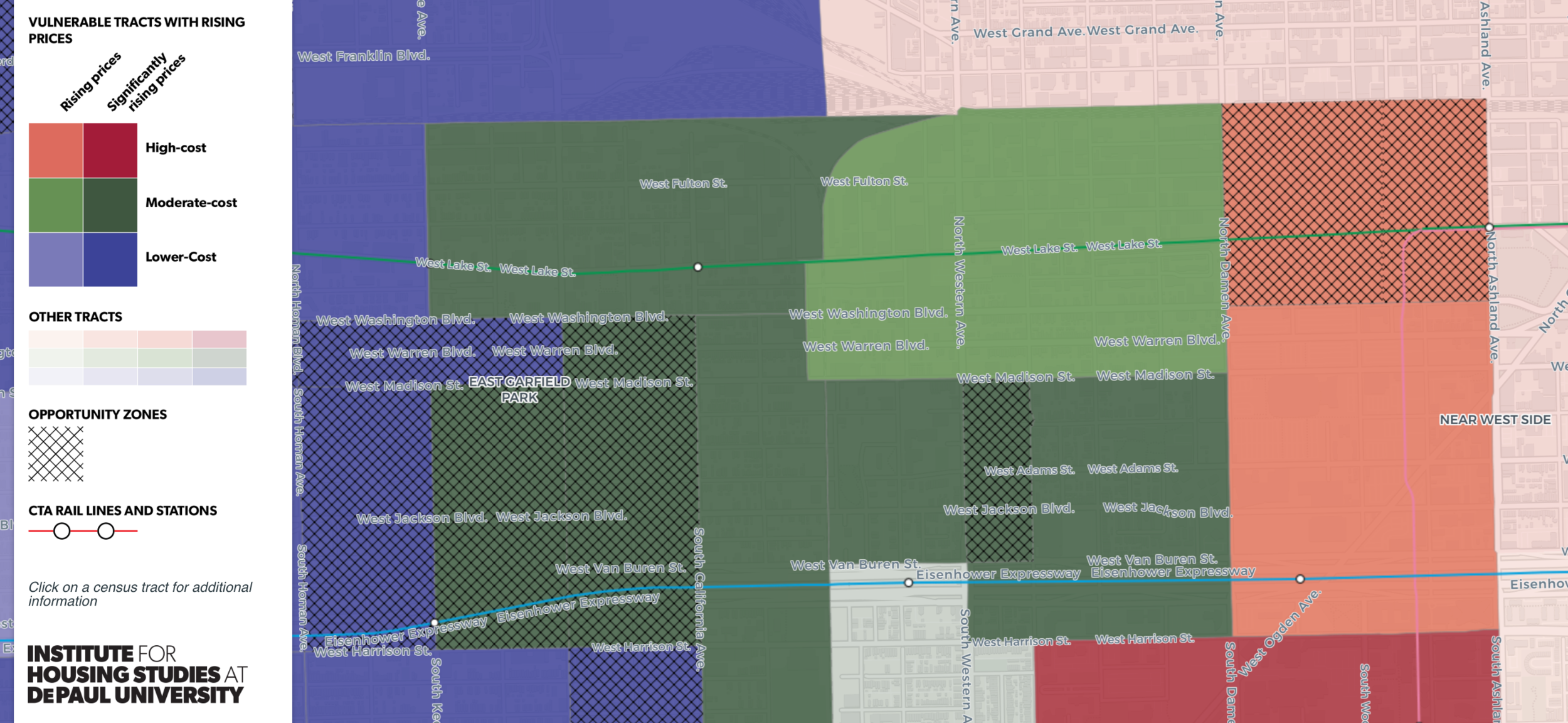 IHS's Displacement Pressure map shows where gentrifiable areas and Opportunity Zones overlap.