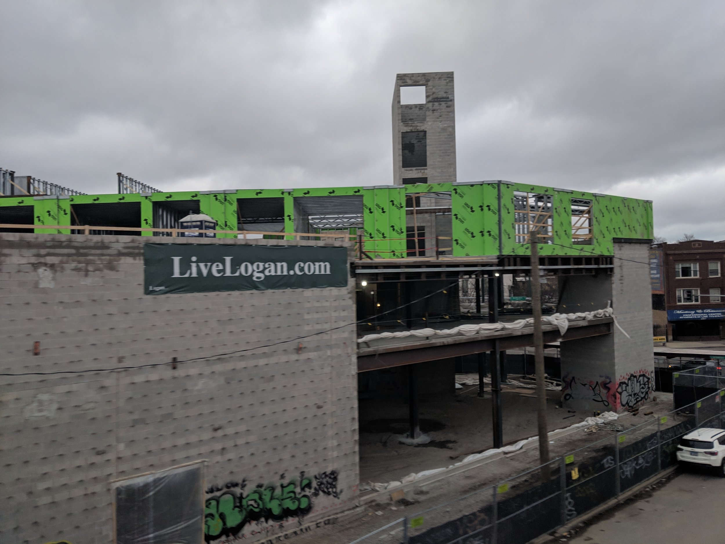 Logan Crossing seen from the Blue Line