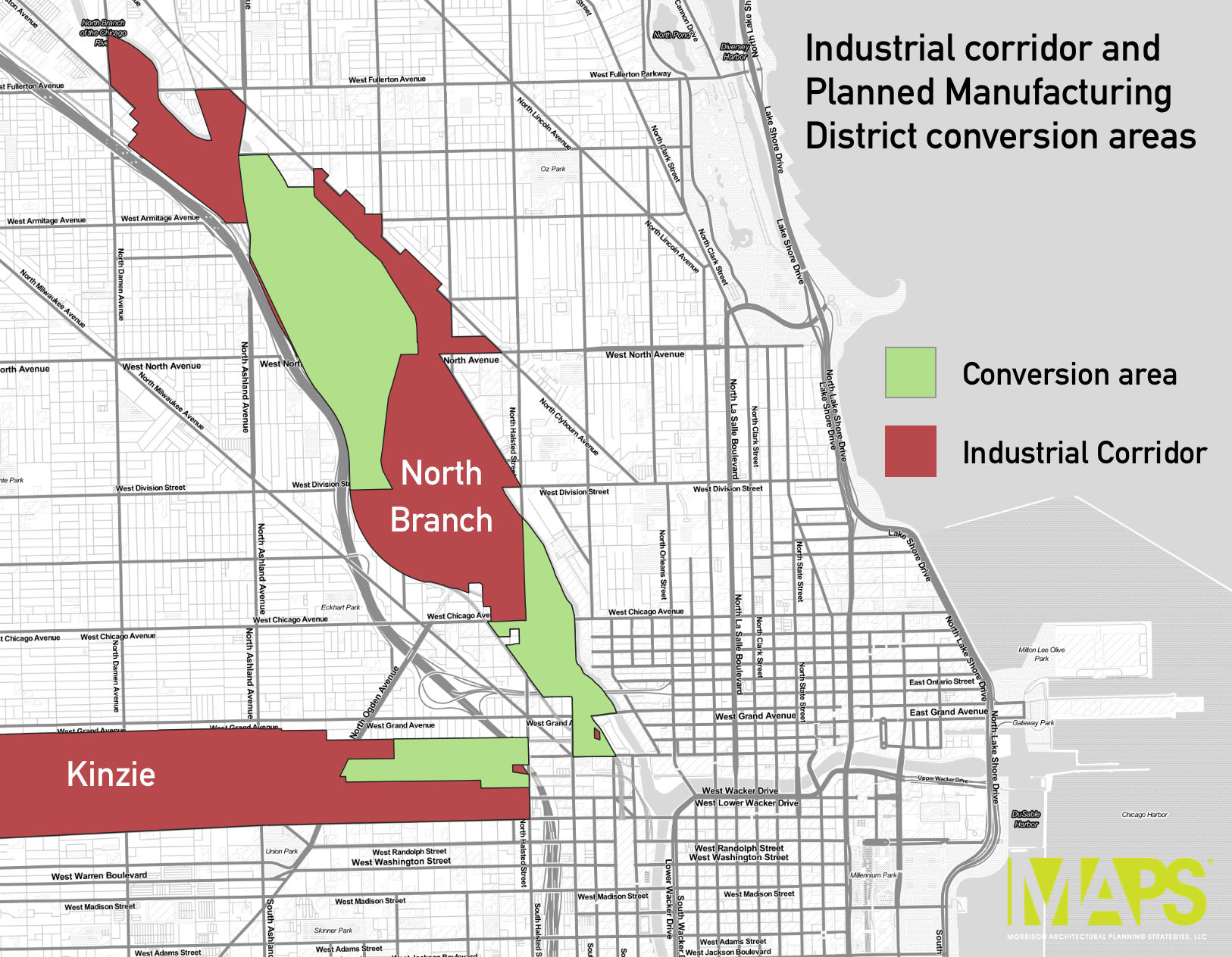 The map shows the conversion areas (in green) that would be eligible in the proposed ordinance. They are part of the Kinzie Overlay District and the North Branch Industrial Corridor. Conversion areas are areas that had been reserved for manufacturing uses and can, since July 2017, be rezoned to B, C, and DX, depending on the area.