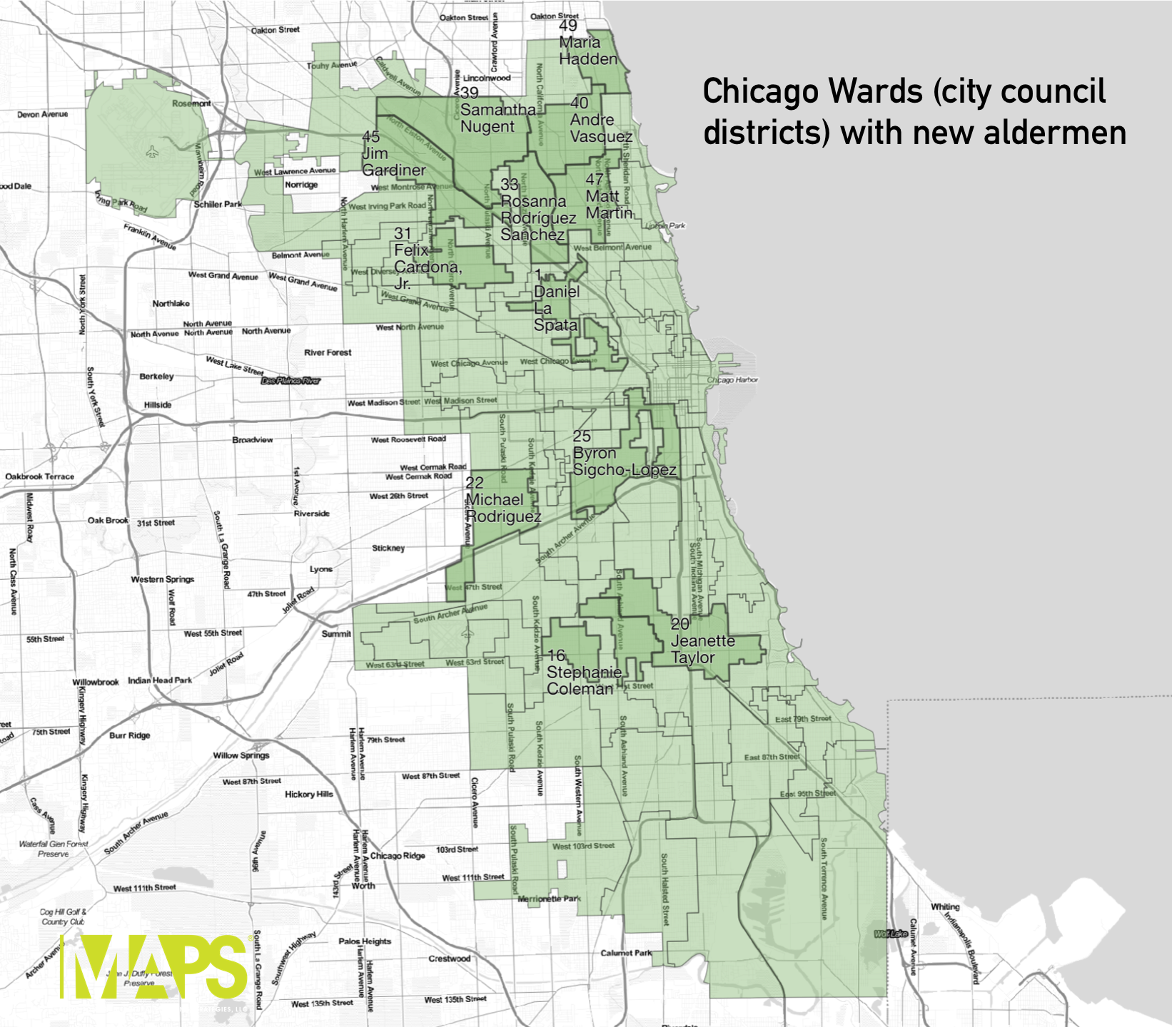 A Chicago ward map with only the wards with a new alderman highlighted and labeled.