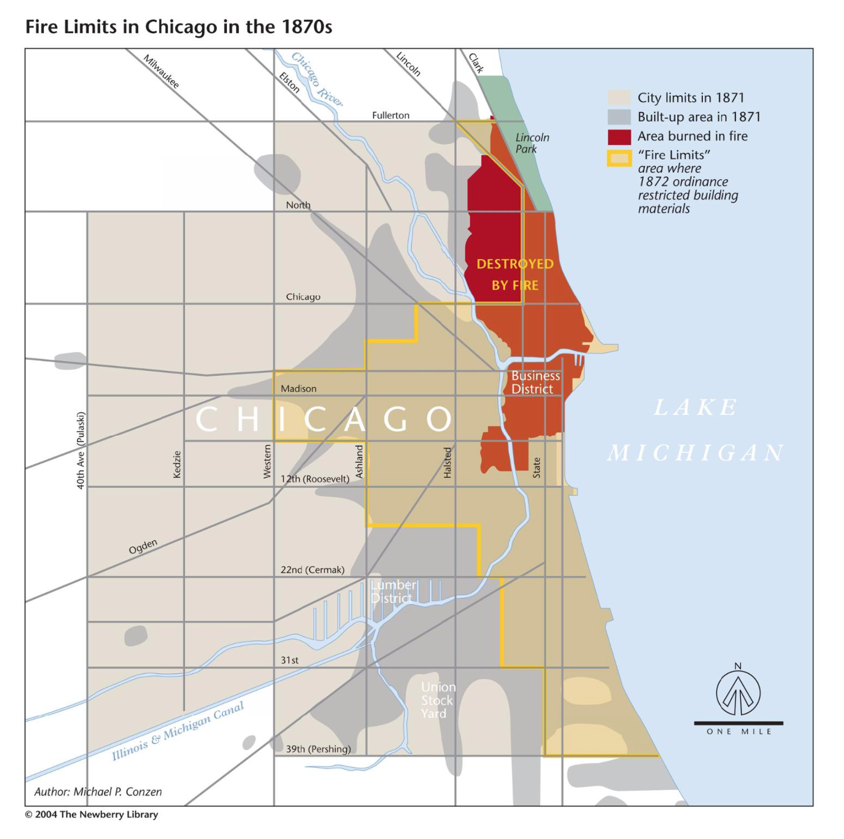 Map of the 1872 Chicago fire limits created by Michael P. Conzen, from the  Encyclopedia of Chicago .