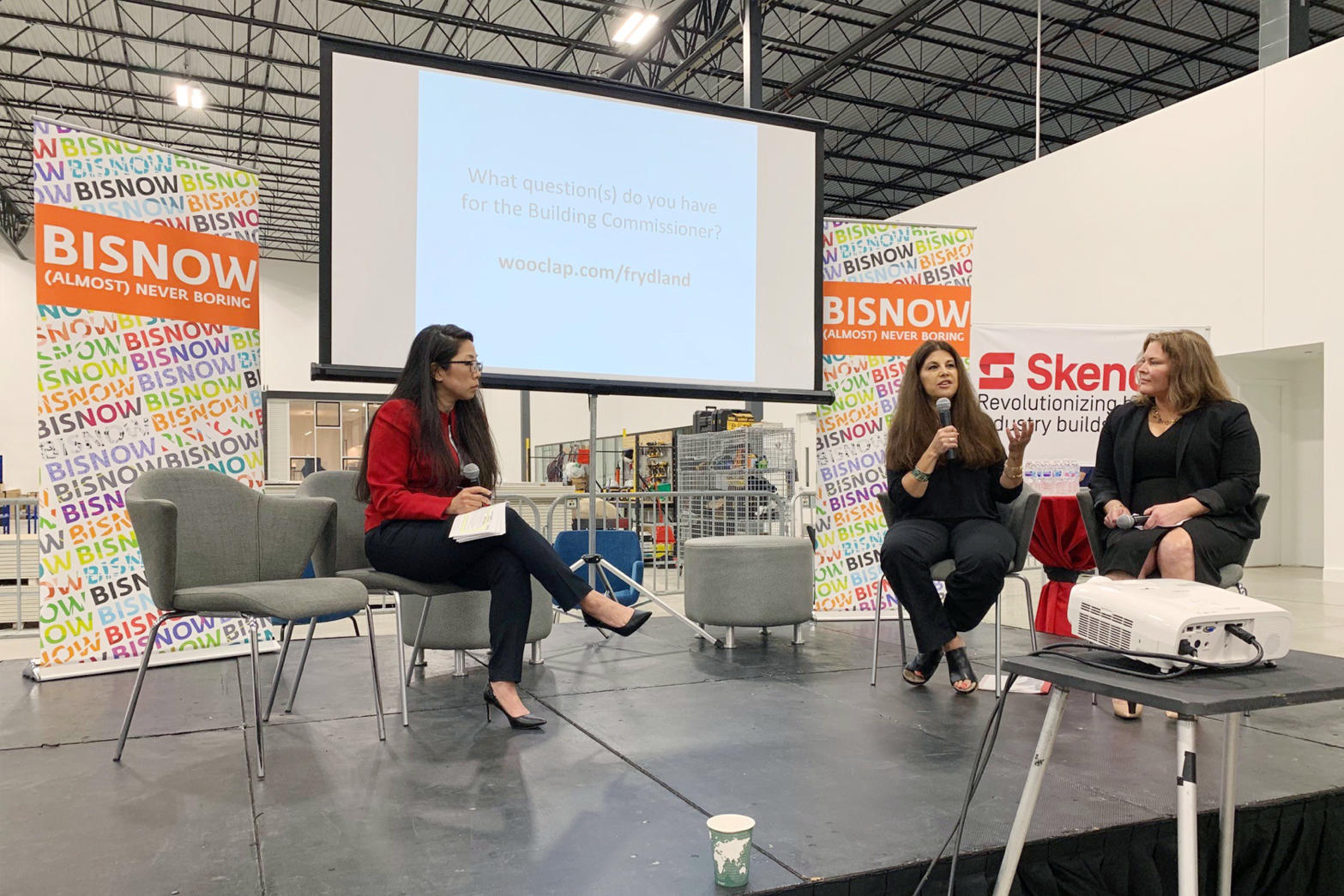 Jenny Han kicks off this morning's fireside chat with Buildings Commissioner Judy Frydland and MAPS president Heather Morrison. Photos courtesy of  Skender .