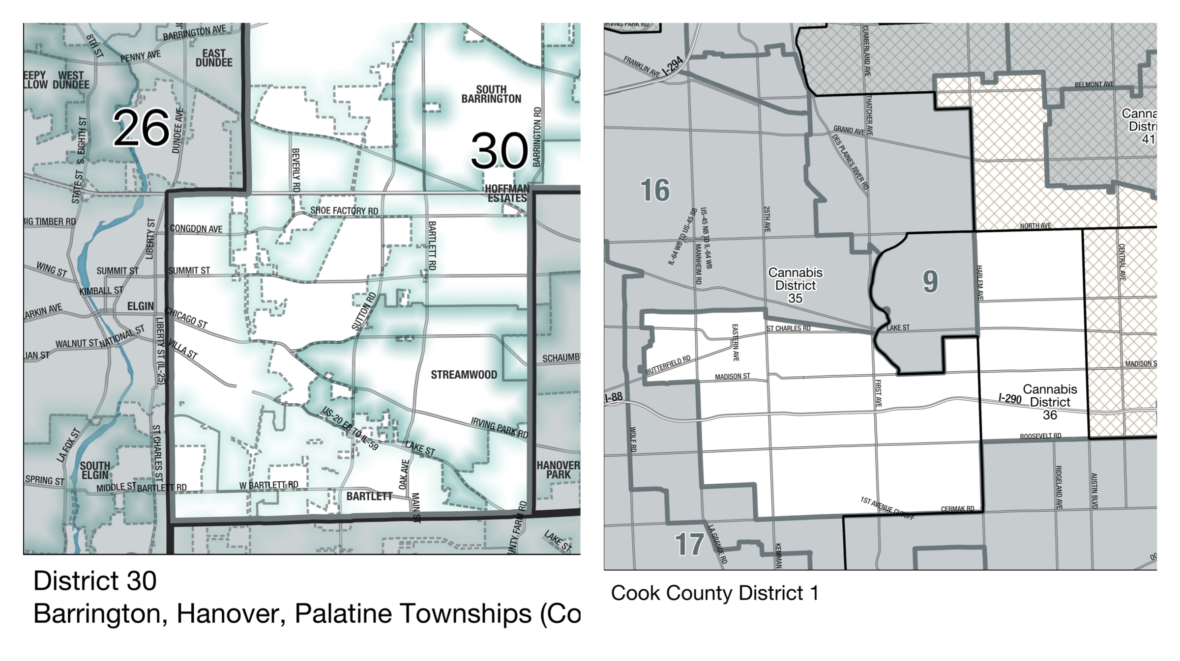 Two sample maps for the collection of nearly 200 maps that we made to show how the different medical cannabis districts of Illinois overlap with municipalities and the districts of elected officials in Illinois, Cook County, and Chicago.