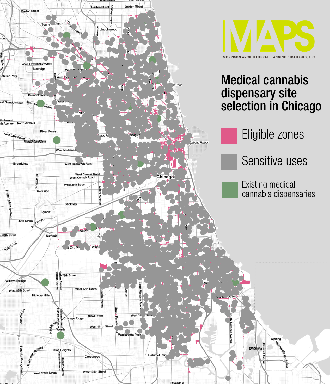 Just look at the map: Areas in pink are the only parts of Chicago where one can potentially open a medical cannabis dispensary. Gray areas show the required 1,000 foot distance a dispensary has to be from sensitive uses. Green areas show the 1,500 foot buffer around existing medical marijuana dispensaries – those medical dispensary owners who apply for a recreational pot dispensary license must be outside of the green areas.