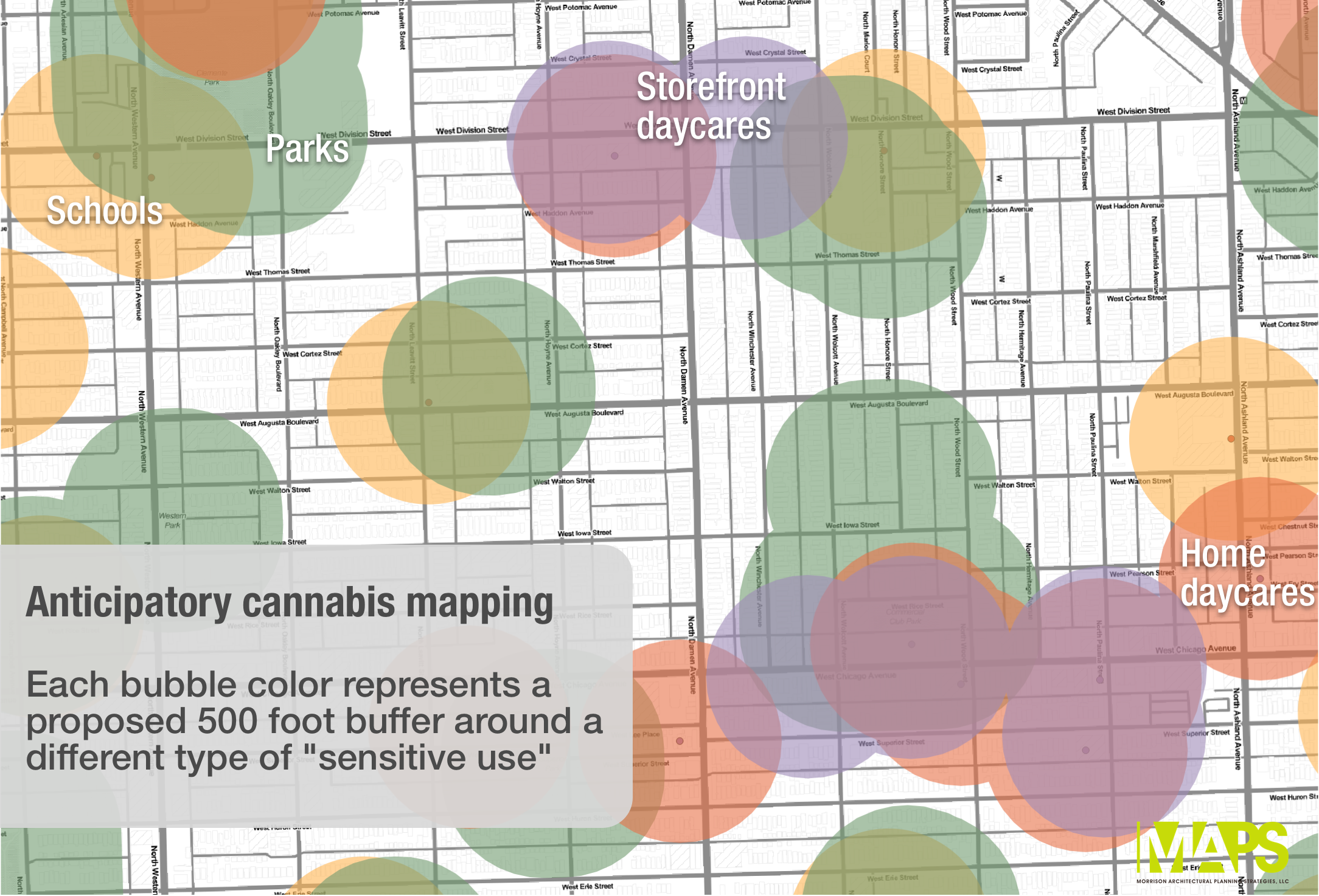 Bubbles represent a 500 foot buffer around known locations of sensitive uses, including parks and playgrounds. Eligible Chicago zoning districts are not shown because they haven't been established to allow recreational cannabis uses.
