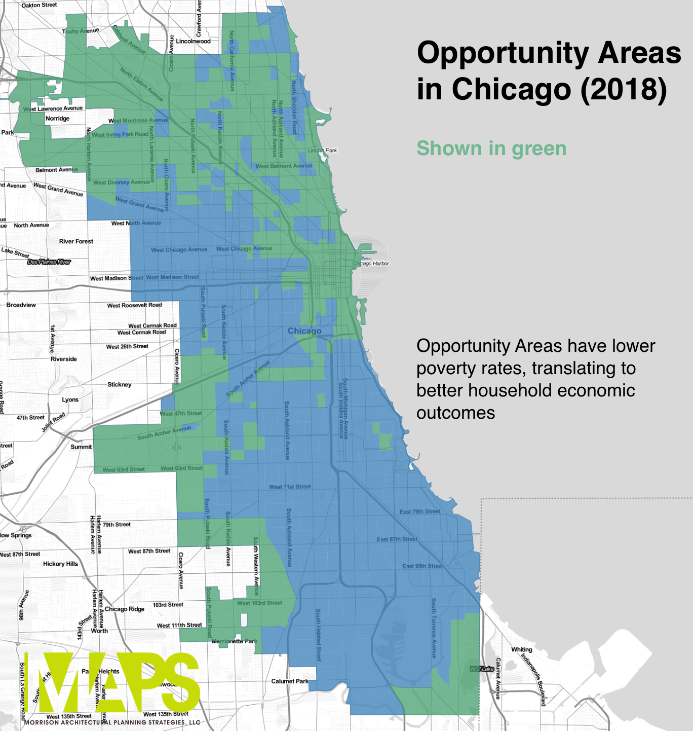 A map of Opportunity Areas in Chicago.