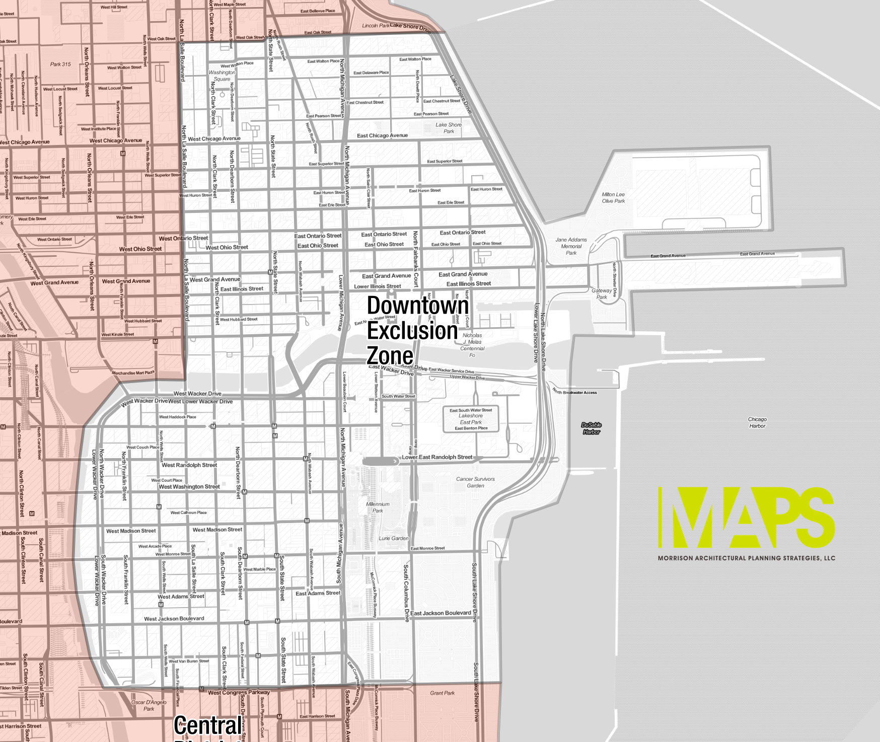 Map of the proposed downtown exclusion zone
