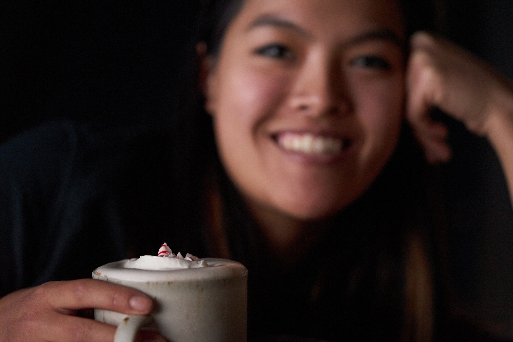 Our producer, Dana, loves peppermint hot chocolate topped with whipped cream that she hand whipped herself!