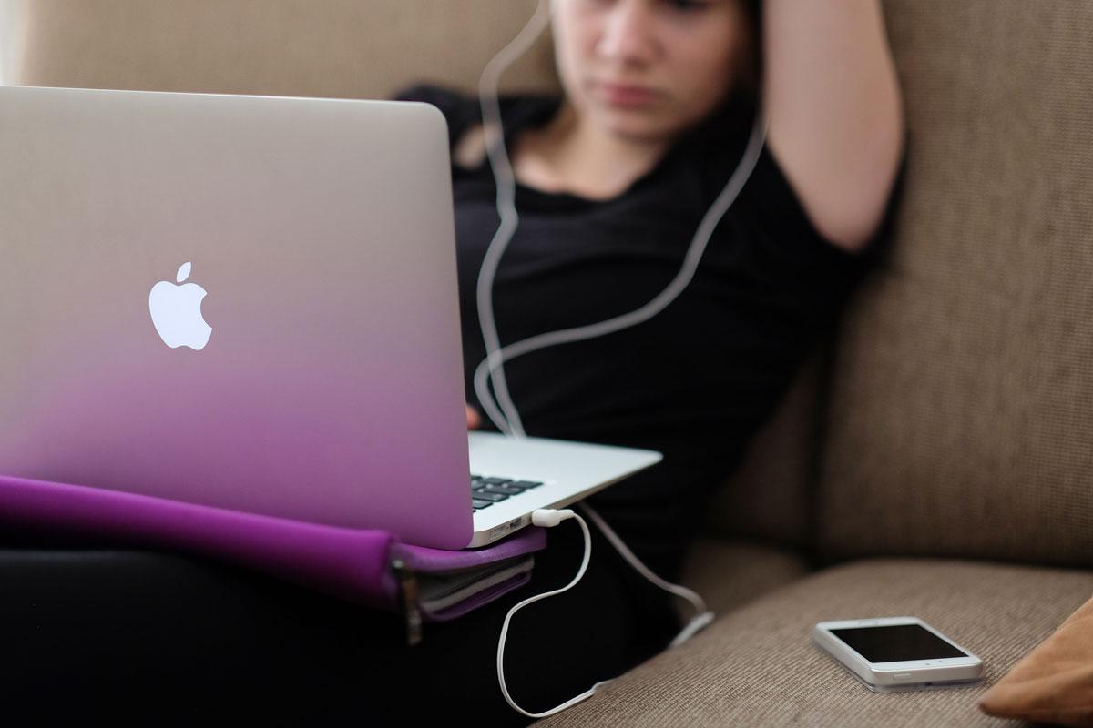 Teen using technology
