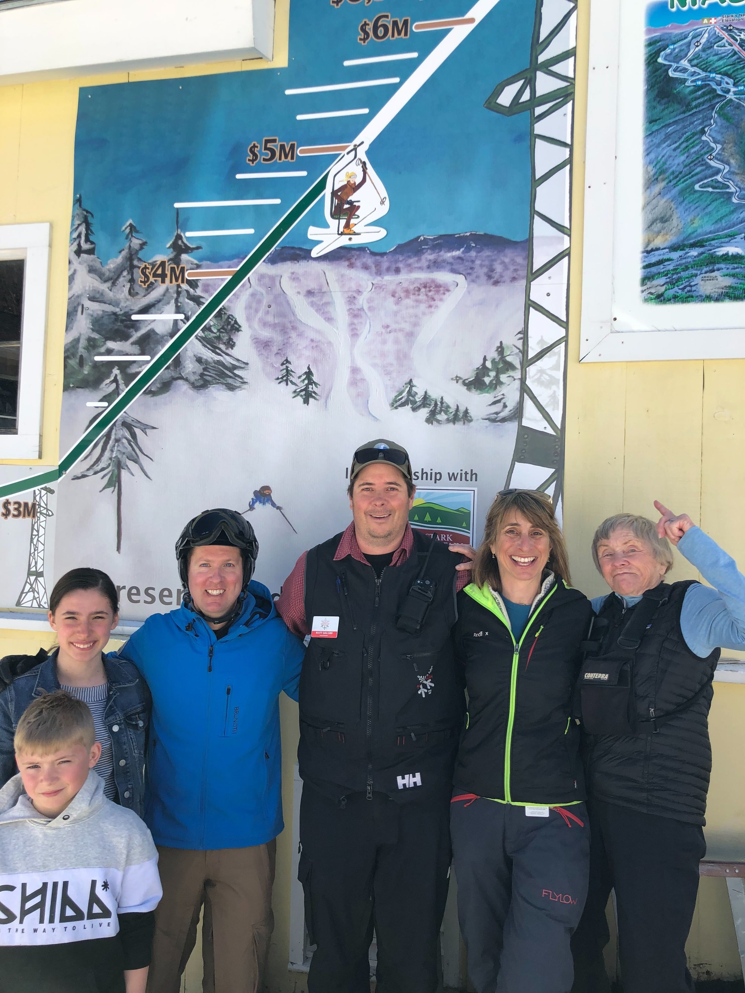 From left to right: Fourth generation MRG skiers, Beau and Eleanor Hume; MRG Accounting Manager Andrew Snow; MRG GM Matt Lillard; Campaign Co-Chair Annika Holtan; and Lu Putnam (MRG skier since 1949).