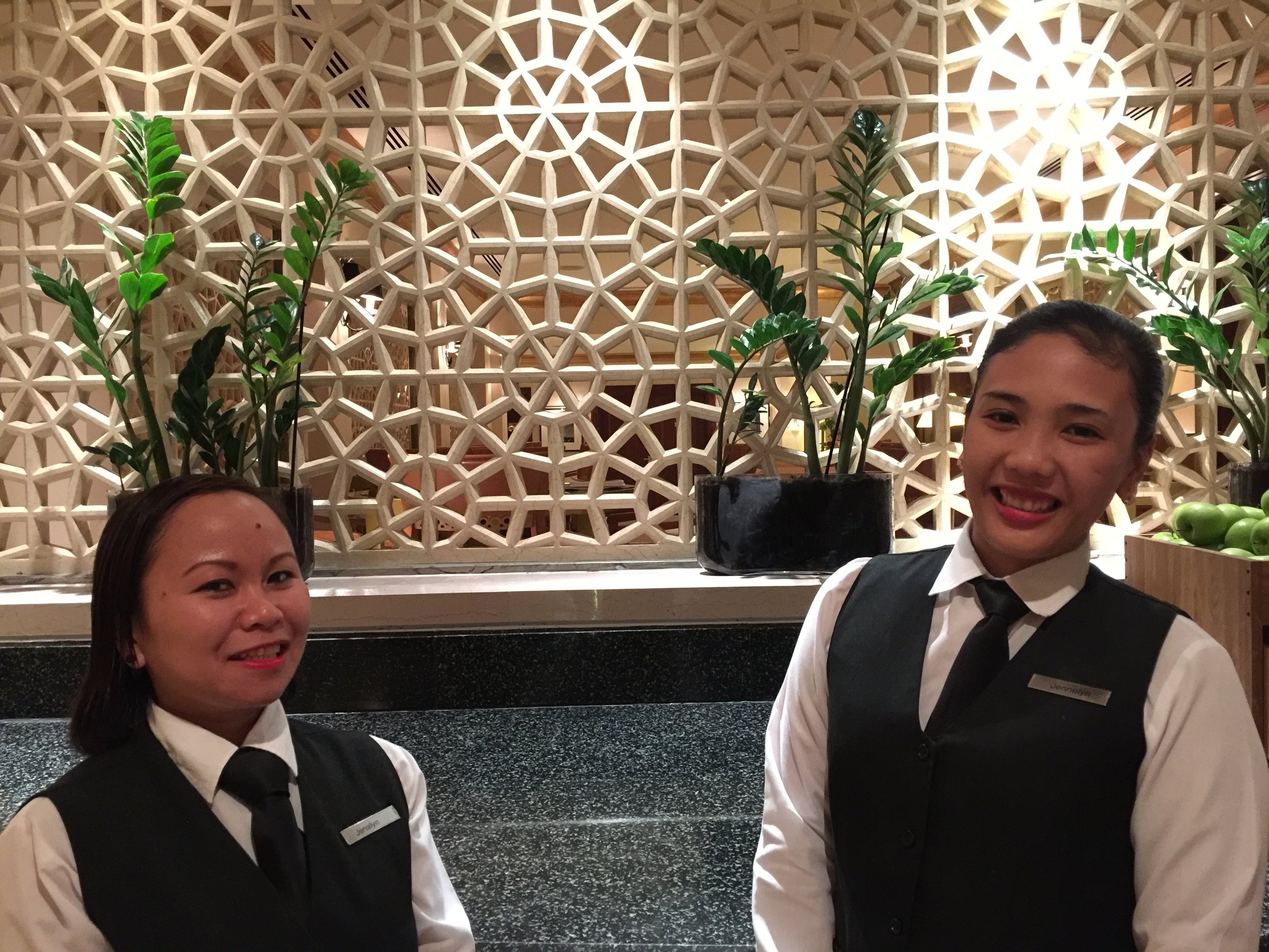 Ms. Jhennie Lactaoen and Ms. Jenalyn Calacat - Grand Club Lounge Staff