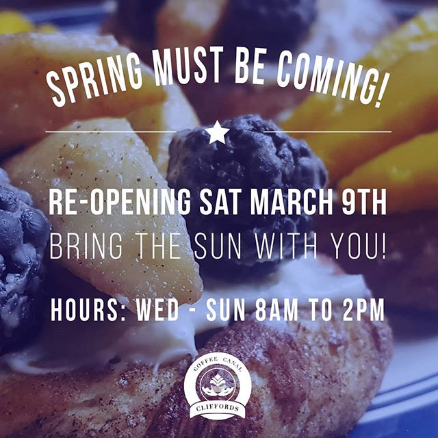 Good morning dear friends! We are re-opening this weekend! ☕🎉 Our hours will start out as Wednesday to Sunday 8am - 2pm.