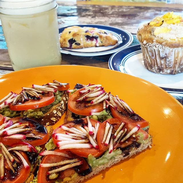 Morning friends! Happy Saturday!  We've got a few new treats on our menu for the summer time. 🌞🌻🌴 Balsamic Avocado Toast - Health nut bread (contains nuts), fresh avocado, sliced tomato, balsamic glaze, chopped radish  French Toast - Broiche bread, fresh blueberries and strawberries  Sauteed Fruit Waffles - Sauteed peaches on top of our Belgian waffle  Tumeric Chai Latte - Tumeric and chai latte, have it iced or hot  Enjoy your weekend friends!  #coffee #freshfood #coffeeshopb