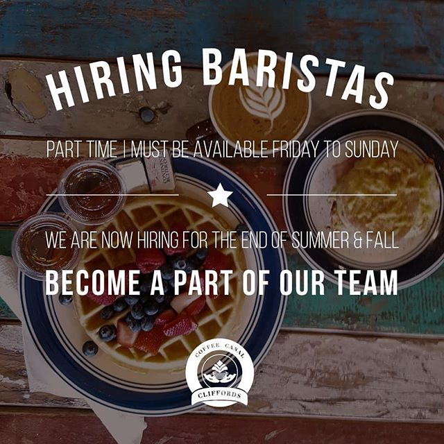 Hi friends! We are hiring a part time barista!  We are looking for a high energy, passionate, friendly, person who is quick on their feet.  Stop in to ask for an application or message us directly!