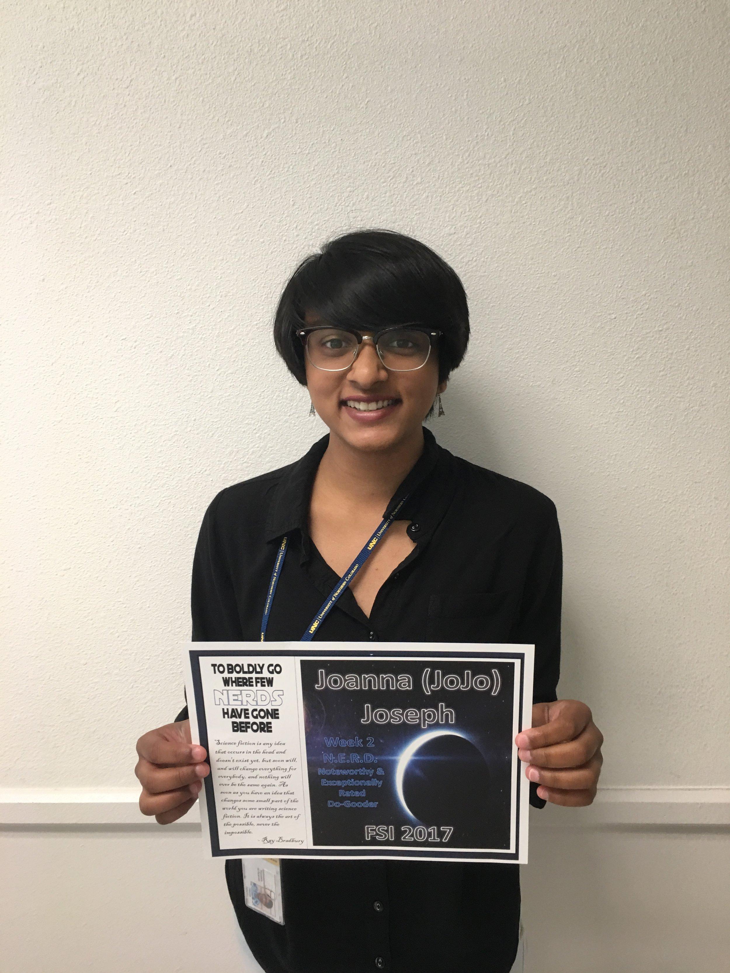Week 2 N.E.R.D. Awardee - Joanna JosephSchool: Cherokee Trail High SchoolHometown: Aurora Colorado
