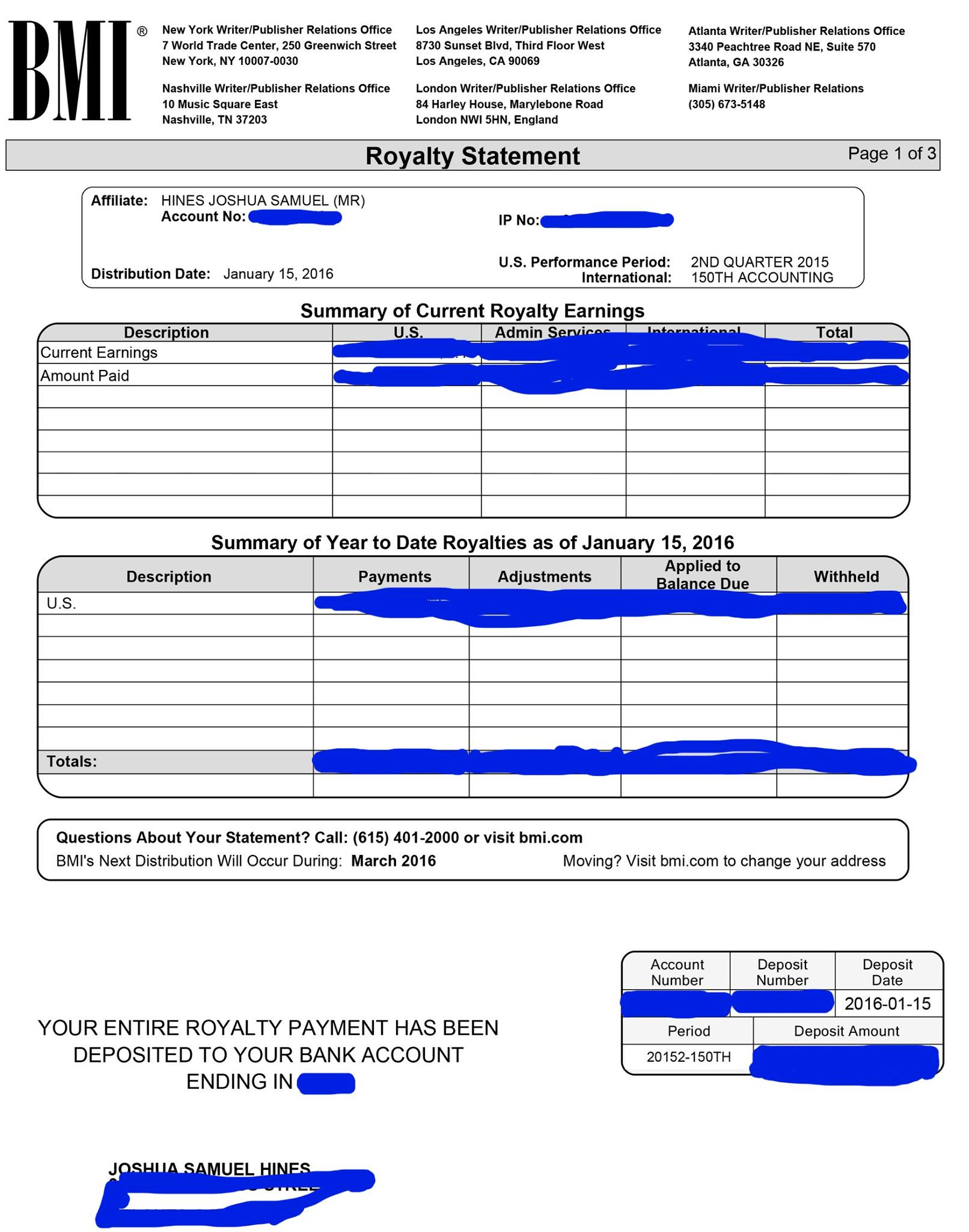 Real royalty statements