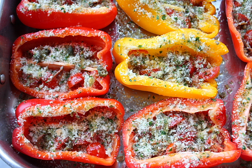 Peppers before baking