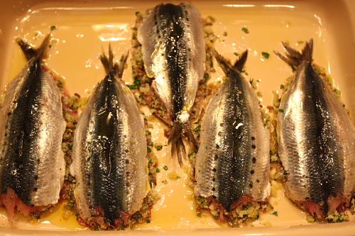 Sardines stuffed before baking