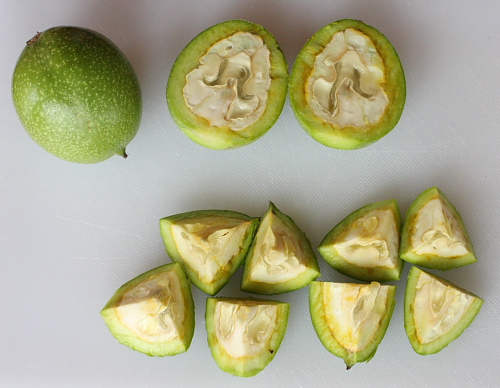 Cut up green walnuts