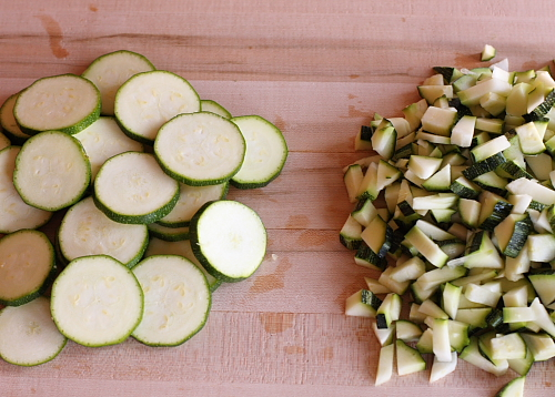 Sliced or diced zucchini for fritters