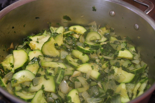 Cooking ingredients for zucchini sauce