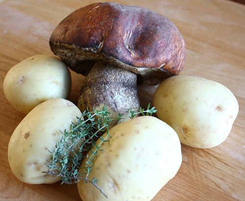 Ingredients for porcini potato soup