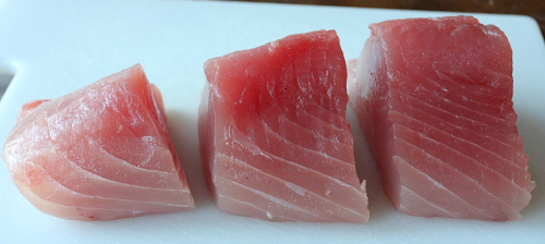 Fresh tuna cut in chunks