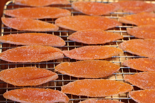 Orange peels coated with sugar