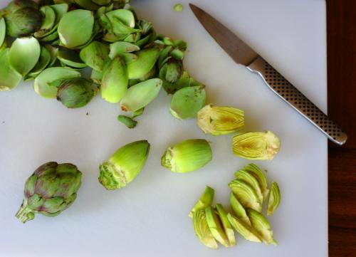 Trimming artichokes