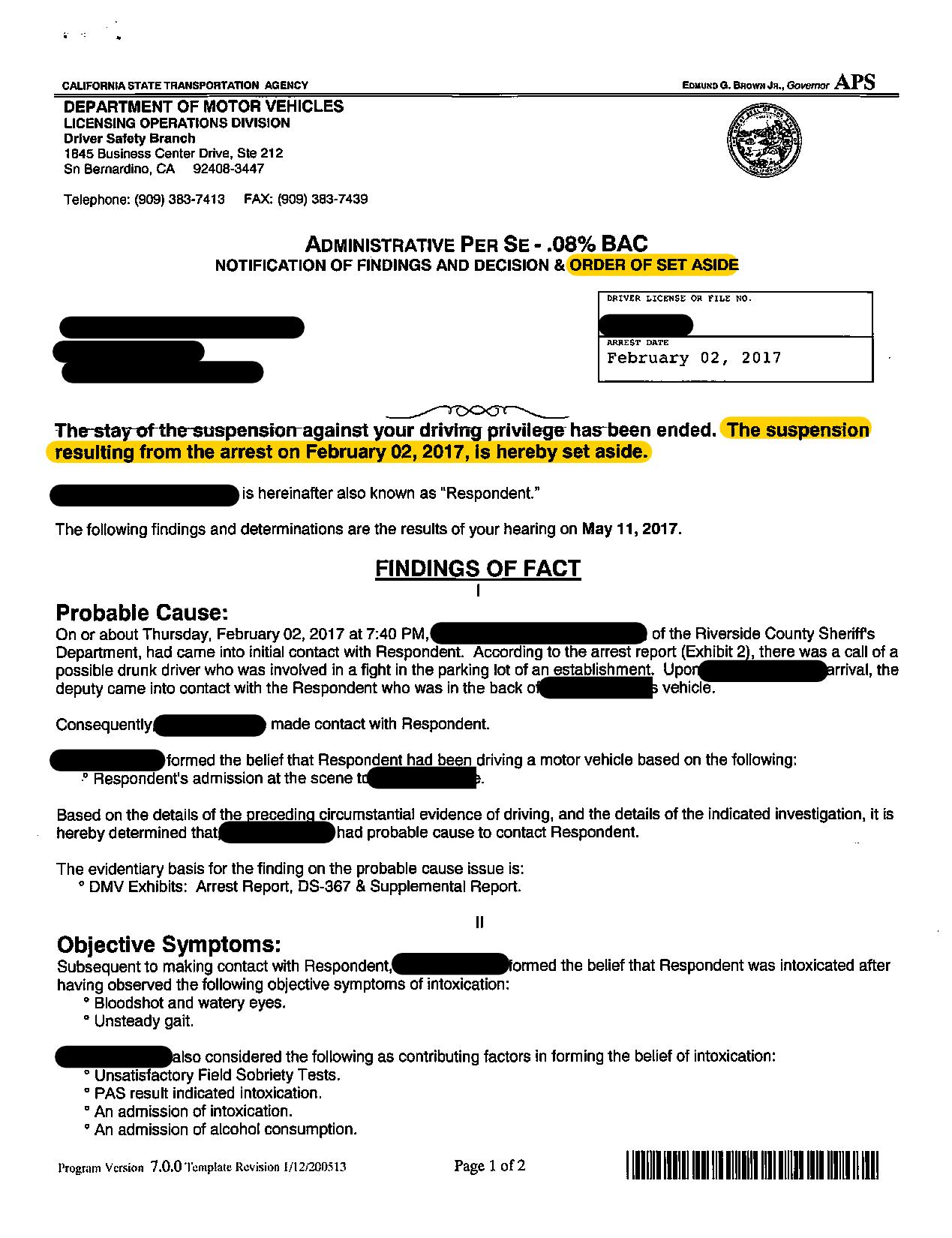 RECENT DMV HEARING WIN