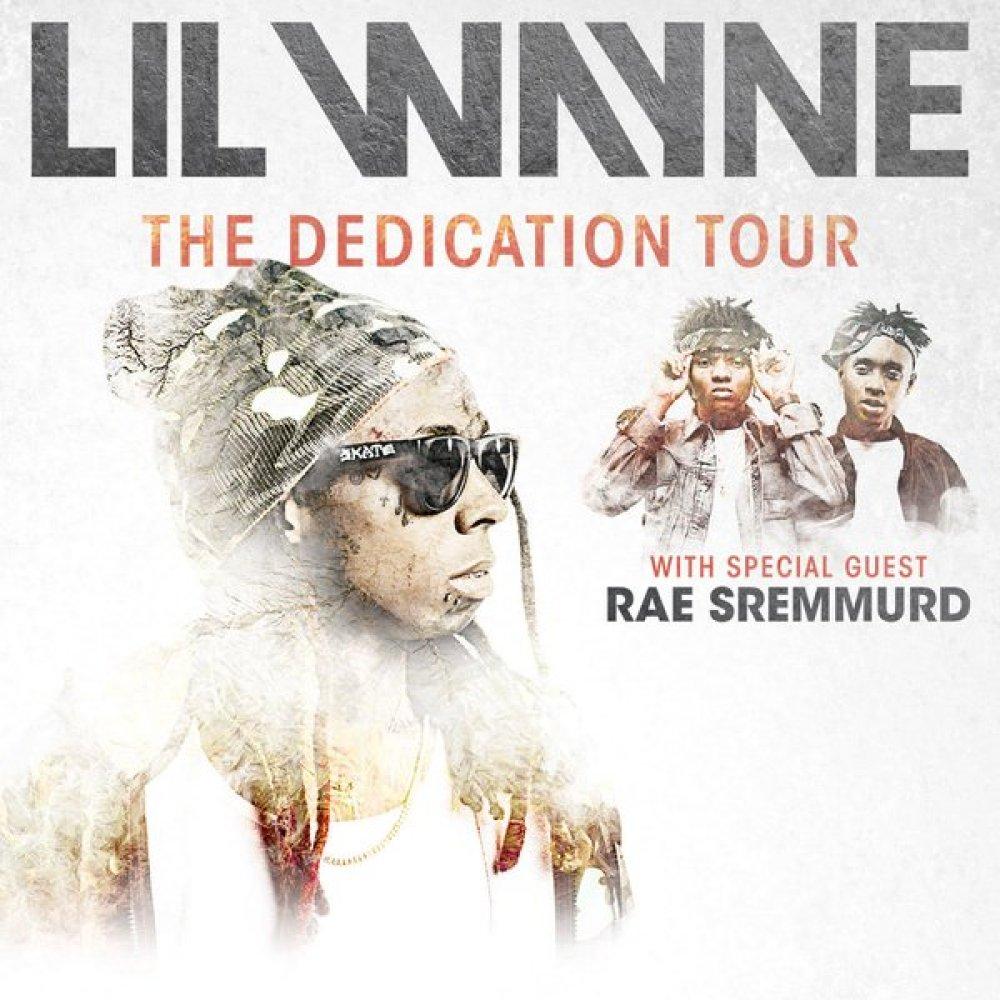 Lil Wayne   announces The Dedication Tour with Special guests   Rae Sremmurd  . The 19-city tour, kicks off on January 21 in El Paso, Texas.      Jan 21 — El Paso, TX @ El Paso County Coliseum   Jan 23 — Hidalgo, TX @ Statefarm Arena   Jan 24 — Corpus Christi, TX @ AmericanBank Center   Jan 28 — Southaven, MS @ Landers Center   Jan 29 — Lafayette, LA @ Cajundome   Jan 31 — Bossier City, LA @ CenturyLink Center   Feb 3 — Fayetteville, NC @ Crown Coliseum   Feb 4 — Richmond, VA @ Richmond Coliseum   Feb 5 — Wallingford, CT @ Toyota Presents Oakdale Theatre   Feb 18 — Grand Rapids, MI @ Van Andel Arena   Feb 20 — Rochester, NY @ Blue Cross Arena   Feb 23 — Bethlehem, PA @ Sands Bethlehem Event Center   Feb 25 — Toledo, OH @ Huntington Center   Feb 26 — Dayton, OH @ Wright State University Nutter Center   Feb 27 — State College, PA @ Bryce Jordan Center   Feb 28 — Youngstown, OH @ The Covelli Centre   Mar 1 — Sioux Falls, SD @ Denny Sanford PREMIER Center   Mar 3 — Bloomington, IN @ Assembly Hall   Mar 6 — Lincoln, NE @ Pinnacle Bank Arena