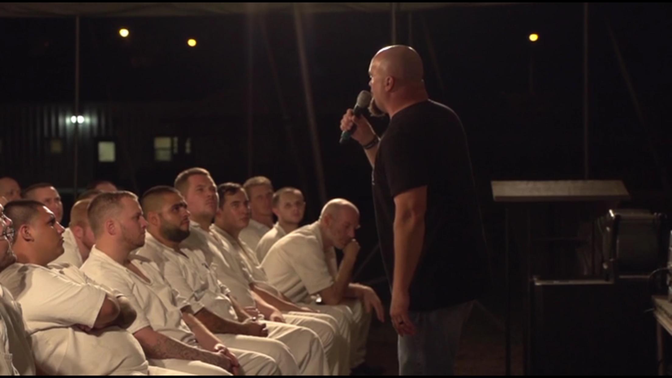 Jay Dan speaking to the men at the Walker Sayle Unit in Breckenridge, TX