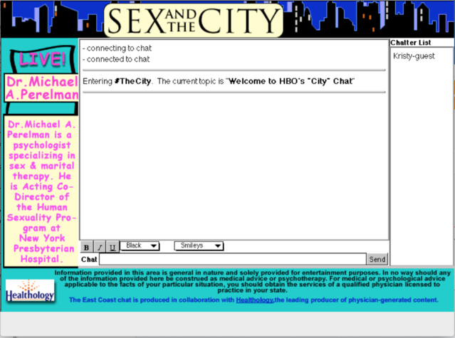An early HBO posting of Sex And The City AOL Chat Room Discussion Site. Source: Used with permission of the MAP Education & Research Foundation