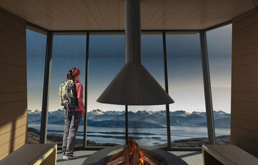 Turister og lokalbefolkningen kommer til å elske dette stedet, høyt over Molde by. Illustrasjoner: Bjarne Josefsen, Kosbergs Arkitektkontor