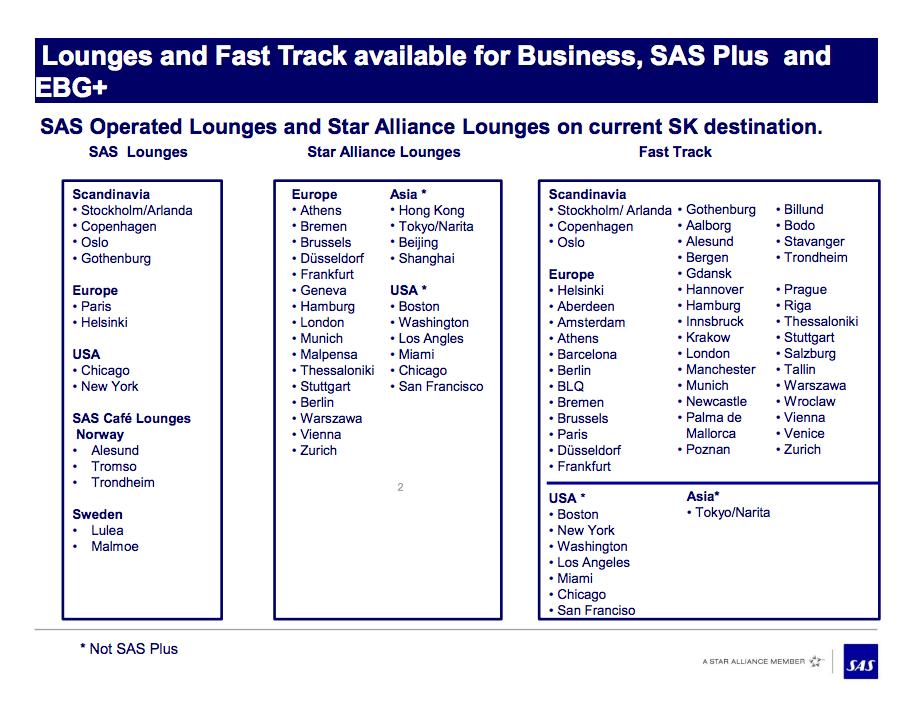 SAS Lounger og Fast Track som opprettholdes.