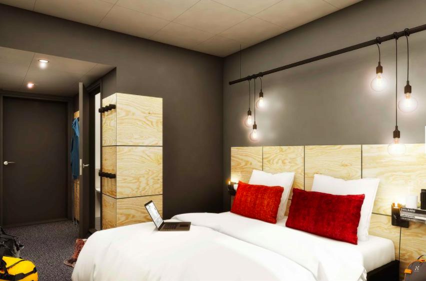 Slik skal det nye hotellet bli.                      Foto/illustrasjon: Hotel Svalbard The Vault
