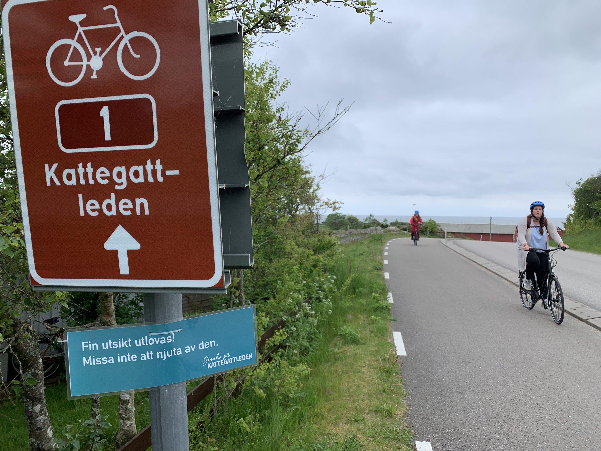 Følg disse rød/hvite skiltene på vegen langs Kattegatleden i Sverige.