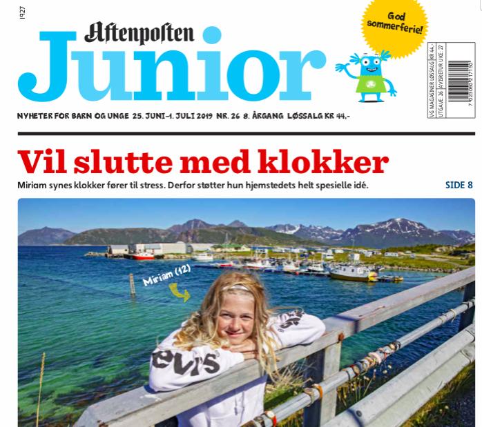 Faksimile fra Aftenposten Juniors forside 25. juni 2019.