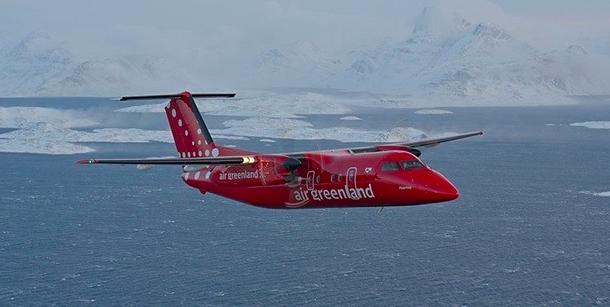 Havilland DHC-8 i Air Greenlands flåte.   Flyselskapet har sju stk av denne flytypen. Foto: Air Greenland.