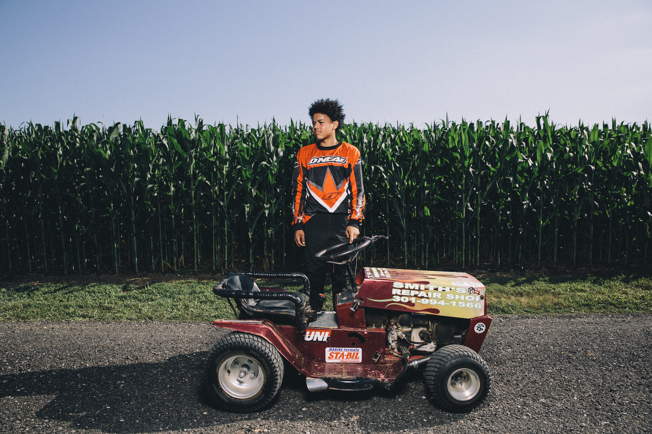 July 31, 2015 and Aug 1, 2015; Clements, MD, USA; Portrait series from the STA-BIL National Lawn Mower Racing Series at Bowles Farm in Clements, MD. Racers posed for portraits, before and during practice heats. Racers competed in at least 10 different mower classes on a 700 ft long dirt track. The course is surrounded by cornfields. Mandatory Credit: Brian Schneider-www.ebrianschneider.comInstagram - @ebrianschneiderTwitter - @brian_schneiderFacebook - Facebook.com/ebrianschneider or Facebook.com/brianschneiderphotography