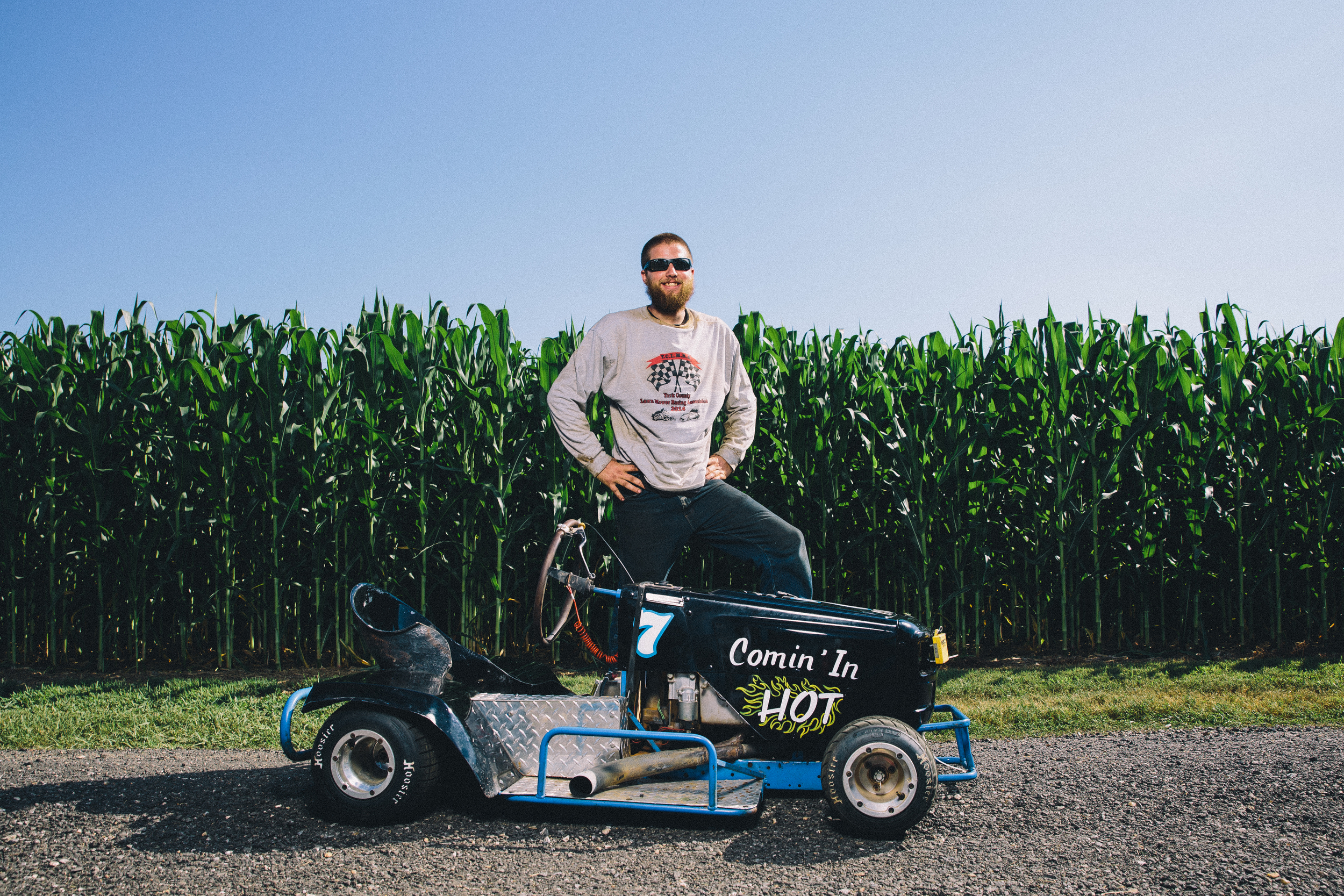 July 31, 2015 and Aug 1, 2015; Clements, MD, USA; Portrait series from the STA-BIL National Lawn Mower Racing Series at Bowles Farm in Clements, MD. Racers posed for portraits, before and during practice heats. Racers competed in at least 10 different mower classes on a 700 ft long dirt track. The course is surrounded by cornfields. 