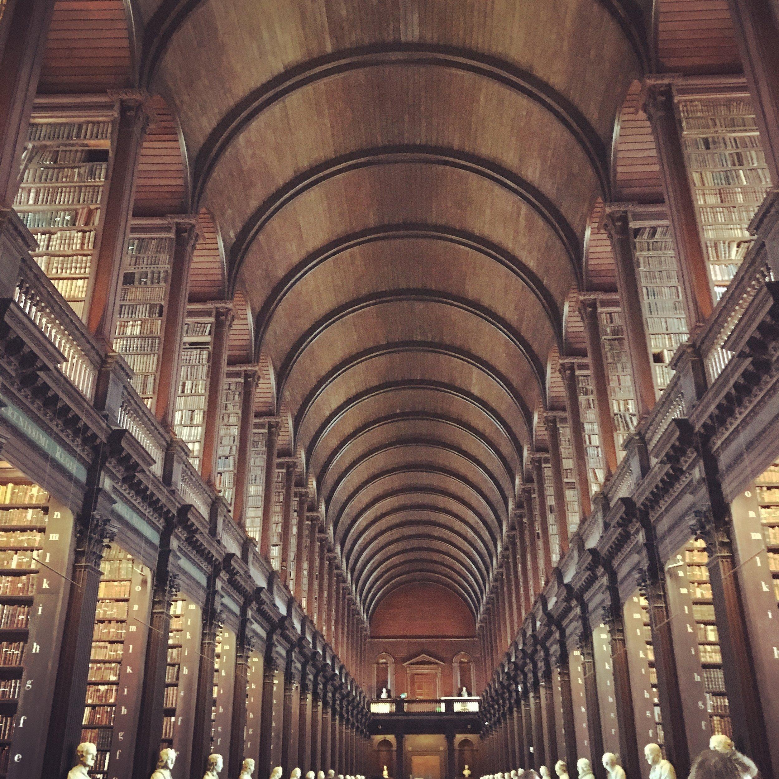 Long Room Library at Trinity University.