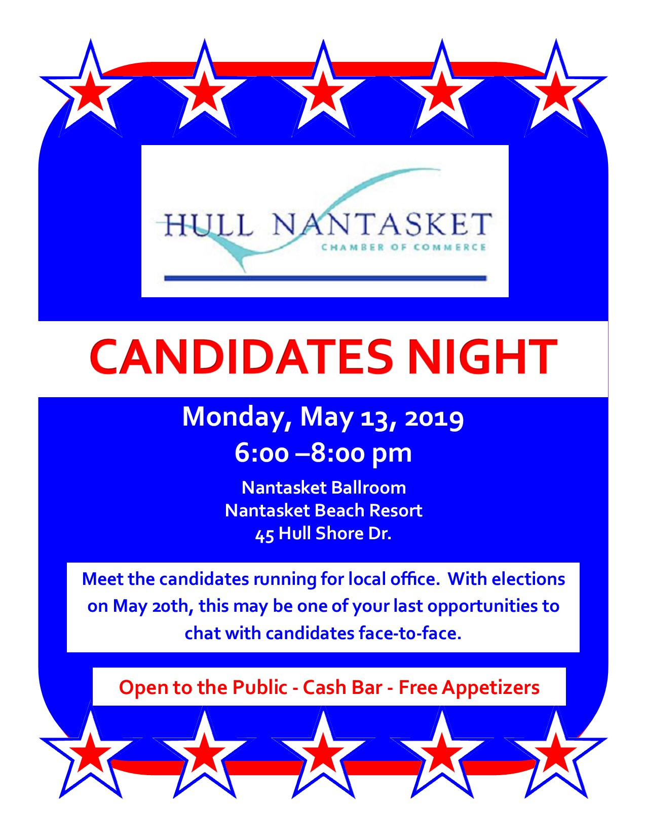 HNCC's Candidates Night, Monday, May 14 from 6-8pm