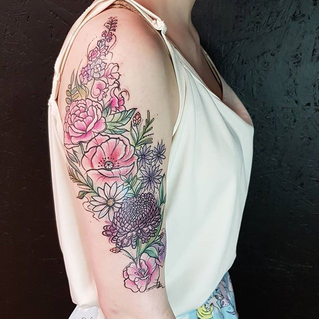 Thanks Kate for sitting so well today 🏵🌿 really enjoyed tattooing theses flowers 💖 hmmm black or white background? ...... #watercolourtattoo #flowers #watercolour #watercolortattooartist #watercolor #watercolortattoo #wctattoos #prettytattoo #tattooistartmagazine #tattoo #ink #femintattoo #avantgardetattoo #watercolourart #tattooart #art #colourtattoo #exeter #exetertattooist #exetertattoo #uktattooartist #ukkta #happy