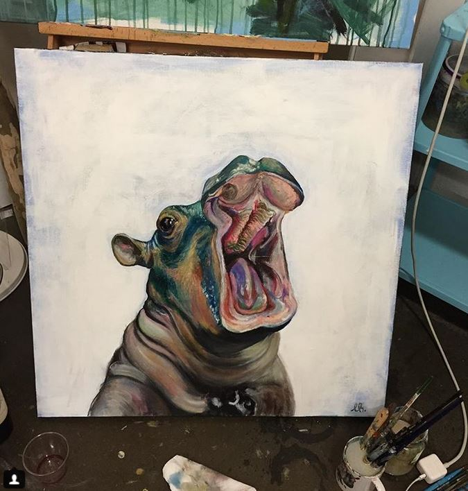 Fiona The Hippo Art Linnea Head