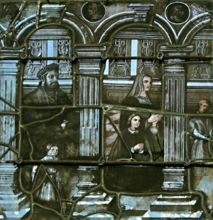 The Berman family represented on a stained-glass window in Saint Nicolas Basilica in France (1545)