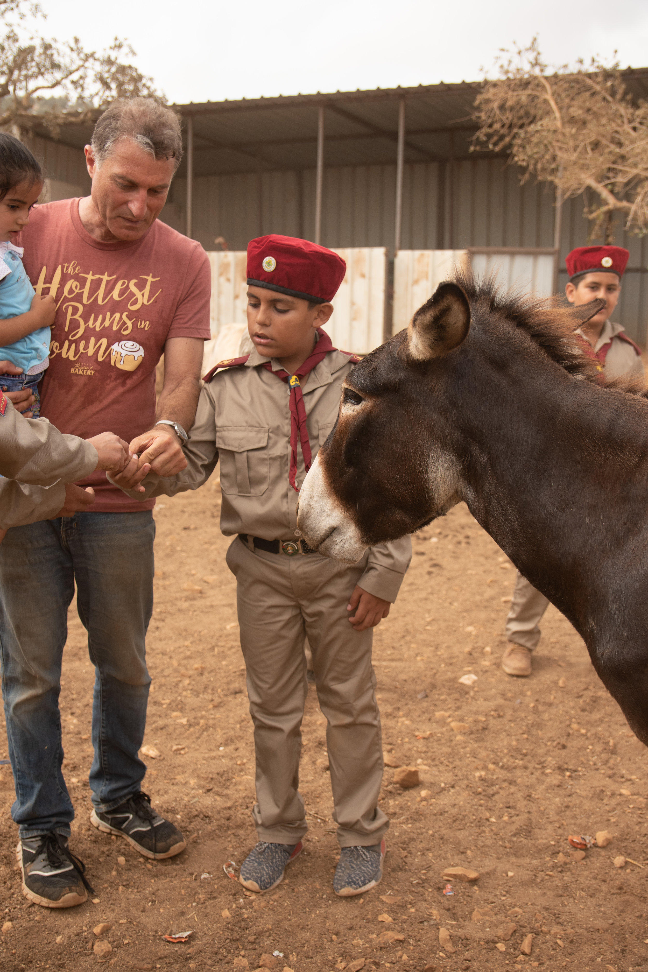 Maad shows a scout how to feed a donkey without losing your fingers