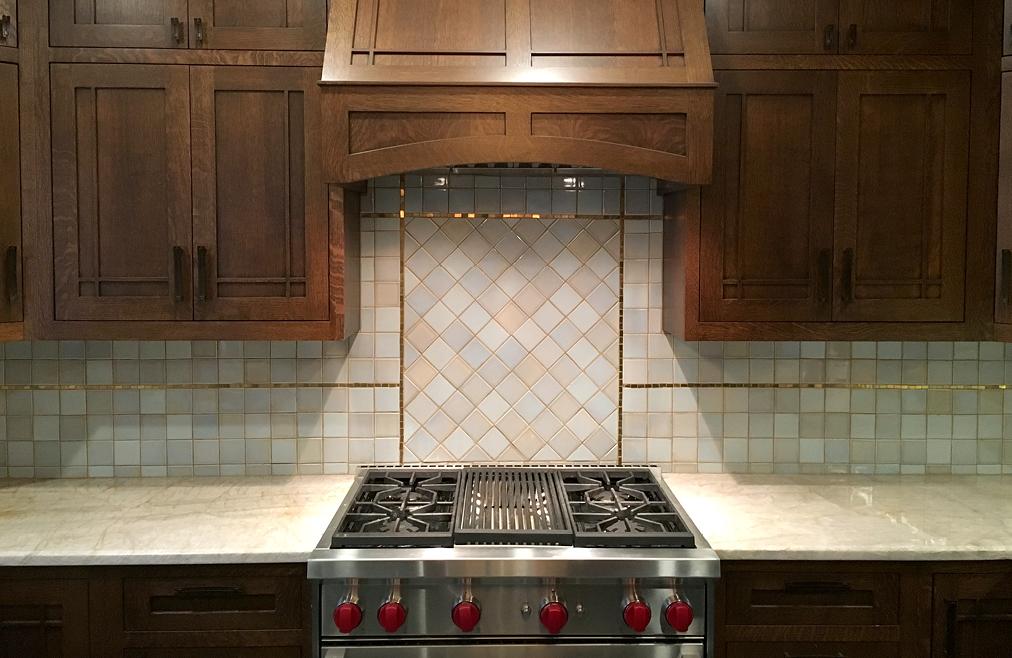 Simple custom 24k gold mosaic backsplash border and kitchen design, Buffalo NY
