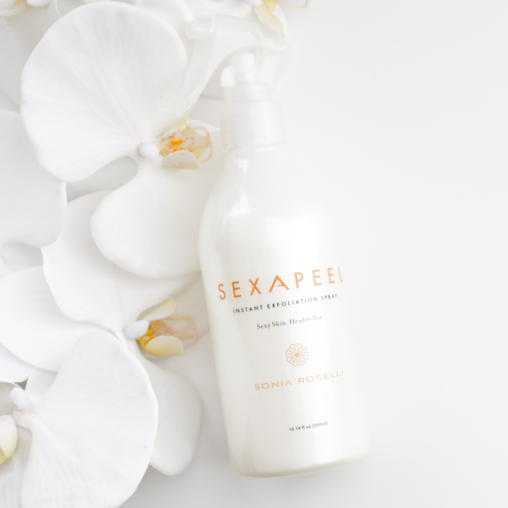 SEXAPEEL™ INSTANT EXFOLIATION SPRAY - $42   An AHA exfoliator in a unique spray form, making for quick and easy use on the face and body. Formulated with plant enzymes that are gentle enough for sensitive skin. Your skin has never felt so smooth!  Follow with Water Elixir Skin Prep.